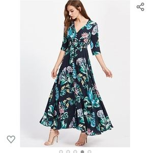 Sleeved floral maxi dress